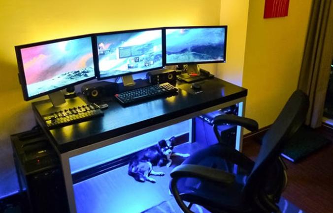 backlit computer desk